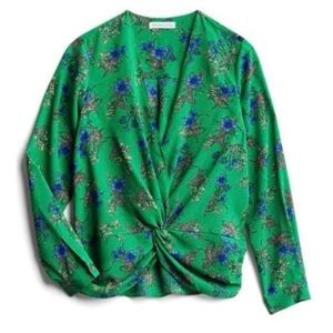 Heartloom Caera Twist Front Green Blouse